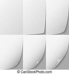 White paper page corner curl vector sprite.
