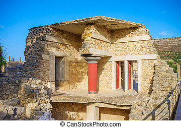 Palácio, Ruína, ensolarado, Dia,  Knossos, Grécia,  crete