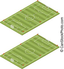 Isometric flat 3D soccer field template.