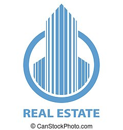Blue real estate emblem vector template isolated on white...