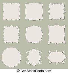 Blank vintage label shapes vector set.