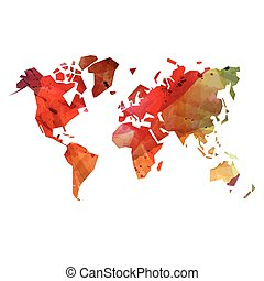 Watercolor abstract world map - Abstract colorful watercolor...