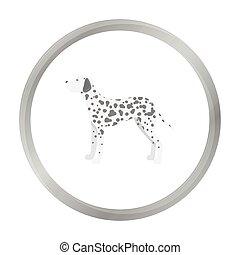 Dalmatian vector icon in monochrome style for web -...