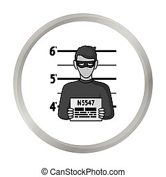 Prisoner's photography icon in monochrome style isolated on white background. Crime symbol stock vector illustration.