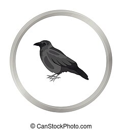 Crow icon in monochrome style isolated on white background....