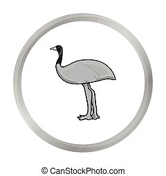 Emu icon in monochrome style isolated on white background....