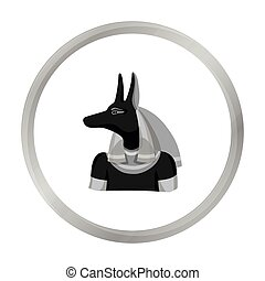 Anubis icon in monochrome style isolated on white background. Ancient Egypt symbol stock vector illustration.