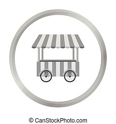 Snack cart icon in monochrome style isolated on white...