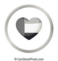 United Arab Emirates heart icon in monochrome style isolated on white background. Arab Emirates symbol stock vector illustration.