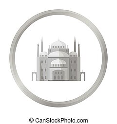 Cairo Citadel icon in monochrome style isolated on white...
