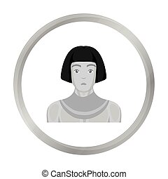 Egyptian man icon in monochrome style isolated on white background. Ancient Egypt symbol stock vector illustration.
