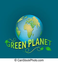 Illustration green planet on a blue background with leaves.