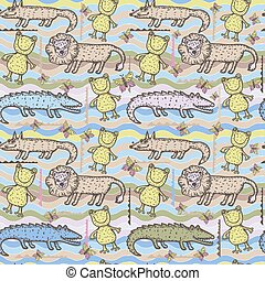 Seamless pattern with cute animals. For the design of...