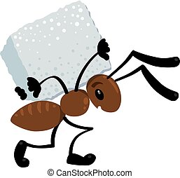 Small ant dragging a cargo. Children illustration - Children...