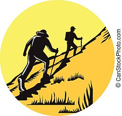 Hikers Hiking Up Steep Trail Circle Woodcut - Illustration...