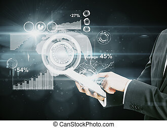 Business communications concept - Businessman using tablet...