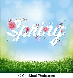 Nature Background With Grass Border And Text Spring