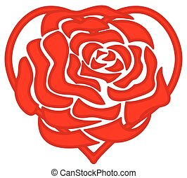 Heart and rose - Concept illustration of the rose on heart...
