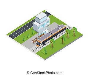 Isometric Gray Public Tram in City