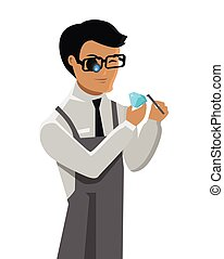 Jeweler Man Examines Diamond Isolated on White. - Jeweler...
