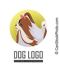 Dog Logo Vector of Pekingese Isolated on White - Dog logo...
