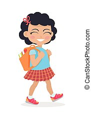 Girl Going in for School with Rucksack Isolated