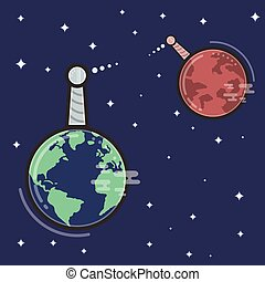 Concept of communication between Earth and Mars.