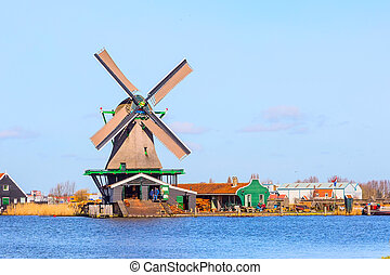 Windmill in Zaanse Schans, traditional village, Netherlands,...
