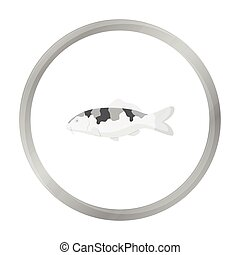 Carp-koi fish icon monochrome. Singe aquarium fish icon from...