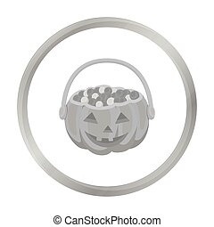 Halloween bucket icon in monochrome style isolated on white...