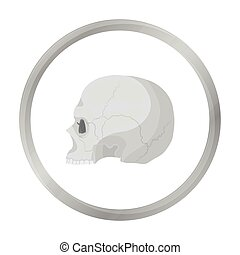 Skull icon in monochrome style isolated on white background. Black and white magic symbol stock vector illustration.