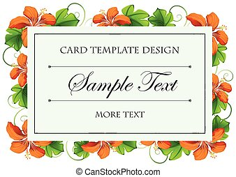 Card template with orange flowers illustration