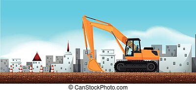 Bulldozer working at construction site illustration