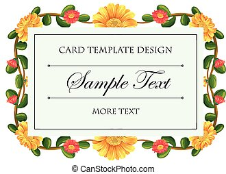 Card template with flowers around the frame illustration