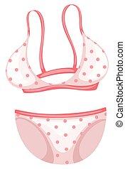 Bikini with pink polka dots