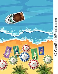 Ocean scene with boat and people sunbathing illustration