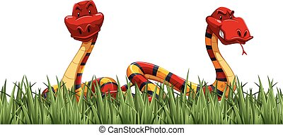 Two snakes on green grass