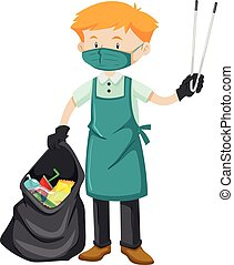 Cleaner with trashbag and thong illustration