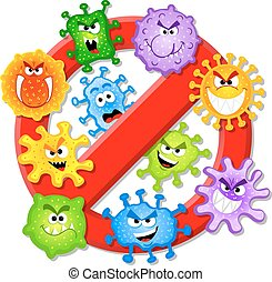 viruses are not permitted - vector illustration of viruses...