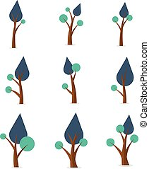 Collection of tree various vector flat