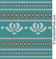 Knitted texture on turquoise background with deer