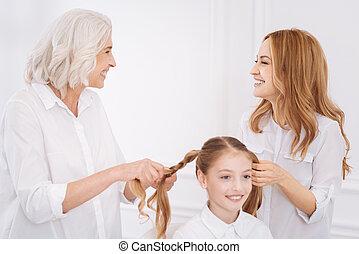 vó, cabelo, trança, mãe, fazer, menina