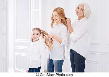 família, positivo, outro, membros, cada, Penteados, fazer