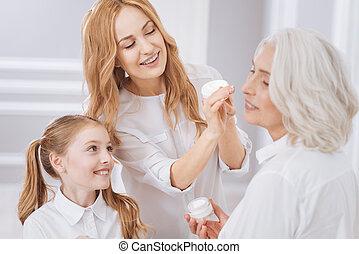 mulher, beleza, positivo, tratamento,  enjoyign, envelhecido