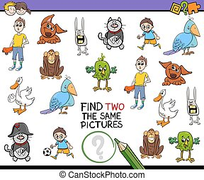 find identical pictures activity - Cartoon Illustration of...