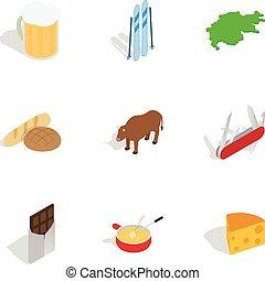 Symbols of Switzerland icons set. Isometric 3d illustration...