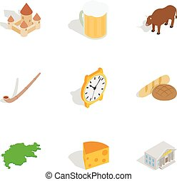 Switzerland travel symbols icons set