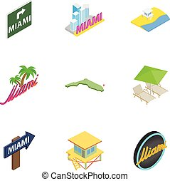 Welcome to Miami icons set, isometric 3d style - Welcome to...