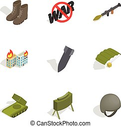Military icons set, isometric 3d style - Military icons set....