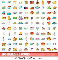 100 building icons set, cartoon style